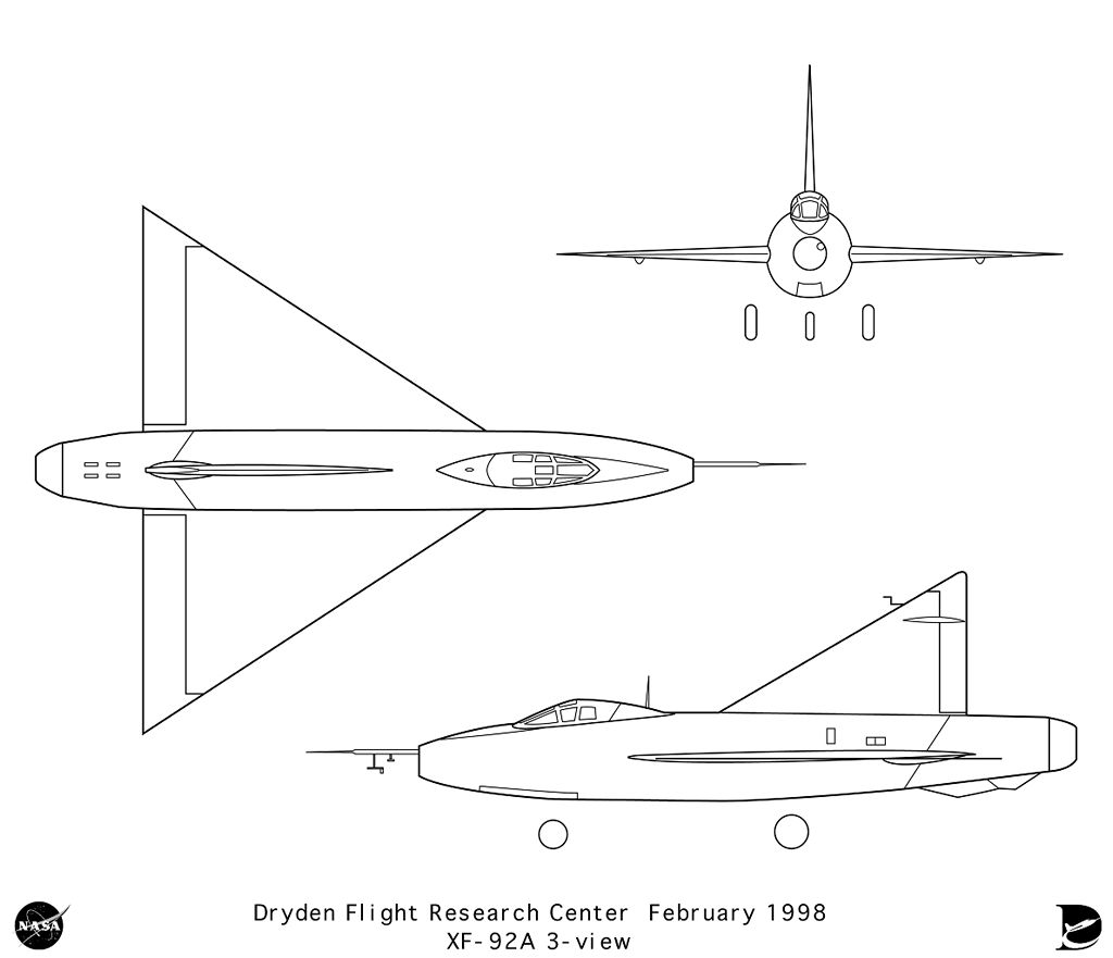 XF-92A 3-View line art