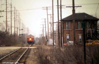 Soo Line F7 northbound at Deval, 1978